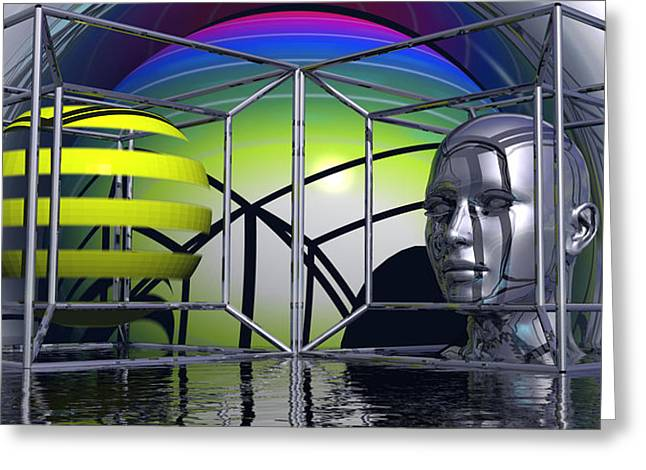 Magical Realism Greeting Cards - A Prisoner Of The Three Dimensional World Greeting Card by Jon D Gemma