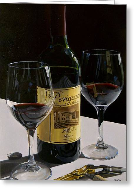 Red Wine Prints Greeting Cards - A Private Reserve Greeting Card by Brien Cole