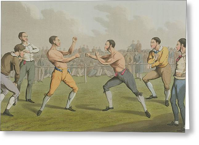 Boxer Print Greeting Cards - A Prize Fight aquatinted by I Clark Greeting Card by Henry Thomas Alken