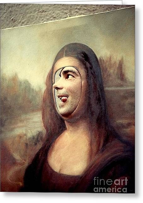 A Profile Of Mona Lisa Greeting Card by Michael Hoard
