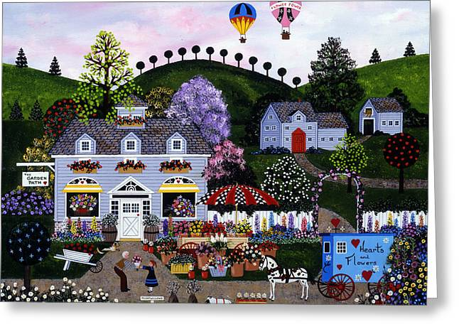 Balloon Flower Paintings Greeting Cards - A Profusion Of Posies Greeting Card by Jane Wooster Scott