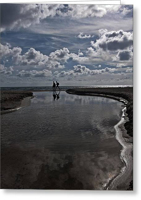 Healthy Greeting Cards - Son Bou beach in Menorca with a cloudy sky - a promenade by the clouds Greeting Card by Pedro Cardona