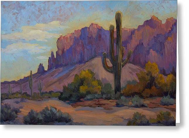 Saguaro Cactus Greeting Cards - A Proud Saguaro at Superstition Mountain Greeting Card by Diane McClary