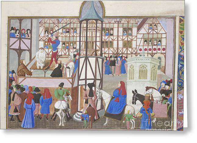 Beheading Photographs Greeting Cards - A Public Execution Greeting Card by British Library