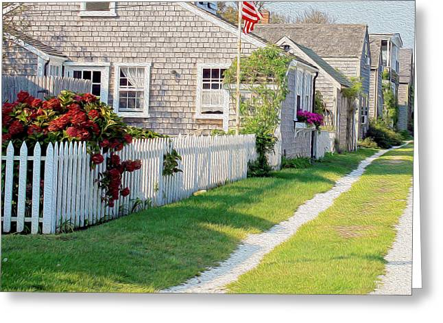 Charming Cottage Digital Art Greeting Cards - A Quaint Nantucket Lane Greeting Card by Images by Stephanie