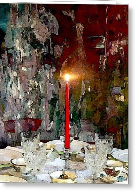 Wine-glass Greeting Cards - A Quaint Table Setting Greeting Card by Lisa Kaiser