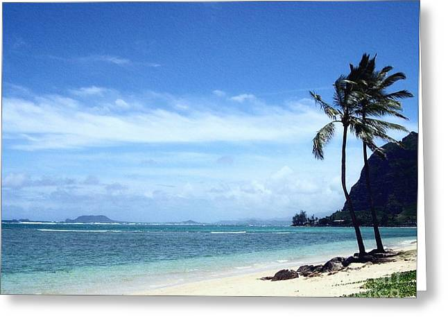 Blue Sky And Sand Greeting Cards - A Quiet Beach Greeting Card by Mel Steinhauer