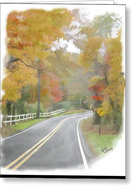 Autumn In The Country Digital Art Greeting Cards - A Quiet Country Road Greeting Card by Bill Losey
