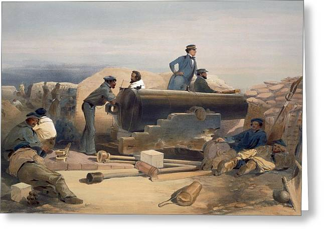 Cannon Drawings Greeting Cards - A Quiet Day In The Diamond Battery Greeting Card by William