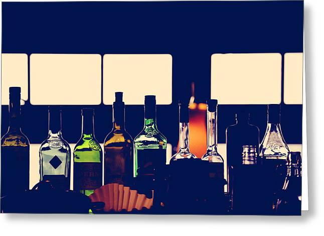 Booze Greeting Cards - A Quiet Dinner Greeting Card by Jerry Cordeiro