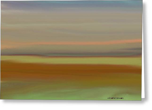 Abstract Digital Paintings Greeting Cards - A Quiet Evening Greeting Card by Lenore Senior