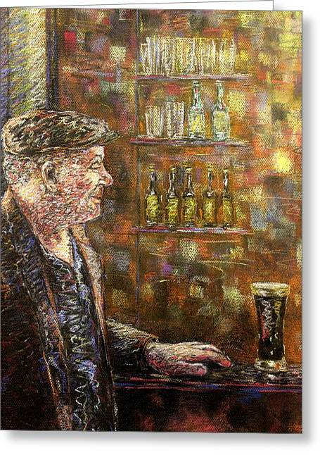 Figurative Pastels Greeting Cards - A Quiet Guinness Greeting Card by John  Nolan