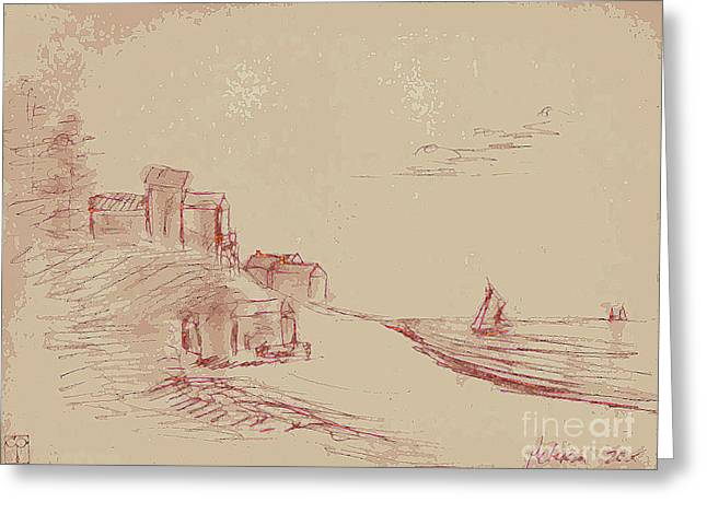 Pen And Paper Greeting Cards - A Quiet Knoll Along The Sea With Sailboats And Clouds. Sepia Cream.  Greeting Card by Cathy Peterson