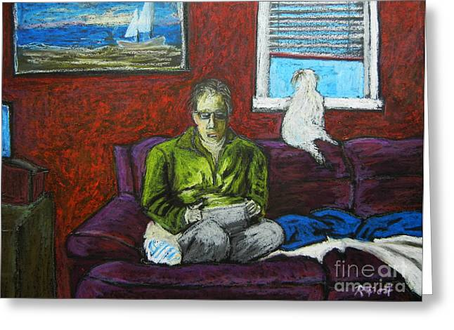 People Pastels Greeting Cards - A Quiet Moment Greeting Card by Reb Frost