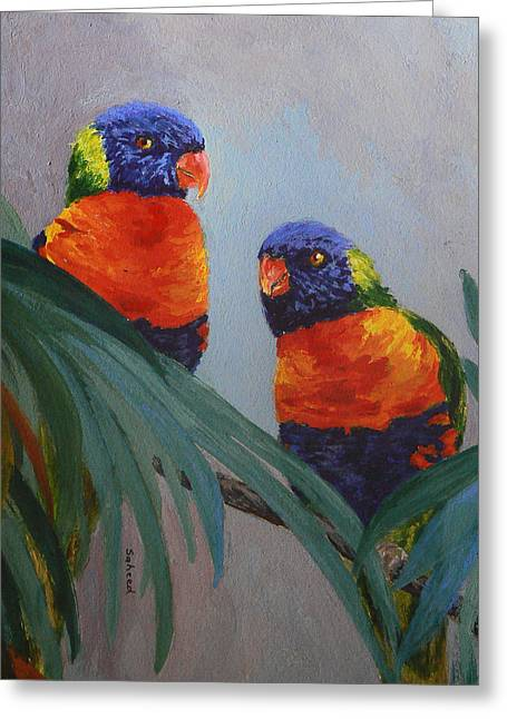 Saheed Greeting Cards - A Quiet Moment Together Greeting Card by Margaret Saheed