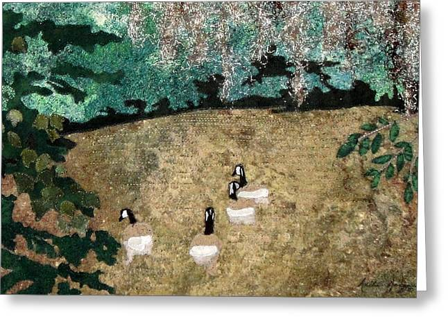 Canadian Tapestries - Textiles Greeting Cards - A Quiet Place Greeting Card by Anita Jacques