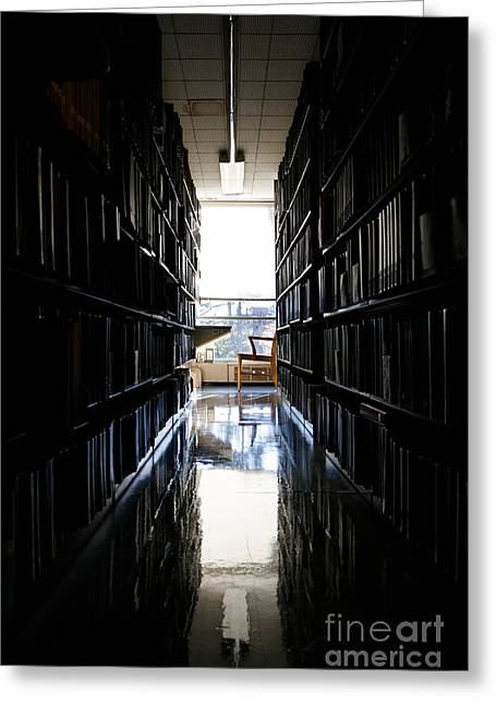 A Quiet Place To Work At A Library Greeting Card by Jannis Werner