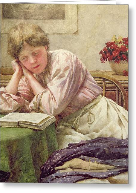 Apron Greeting Cards - A Quiet Read Greeting Card by Walter Langley