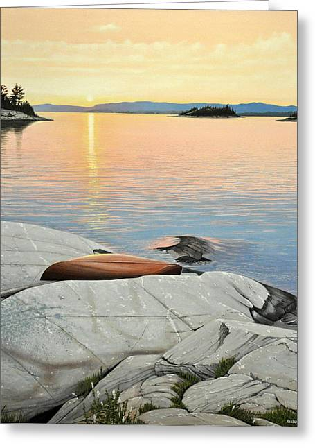 Canoe Paintings Greeting Cards - A Quiet Time Greeting Card by Kenneth M  Kirsch