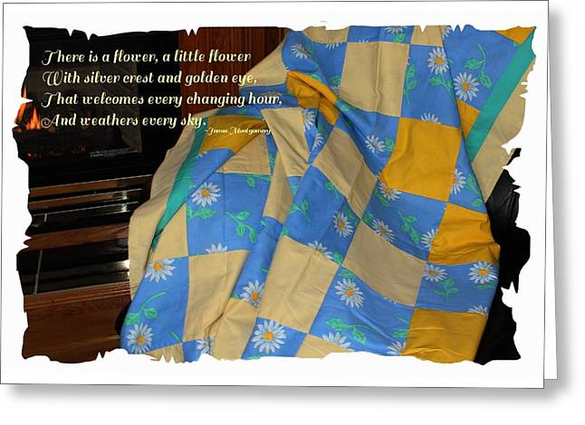 A Quilt With Daisies And Quote Greeting Card by Barbara Griffin