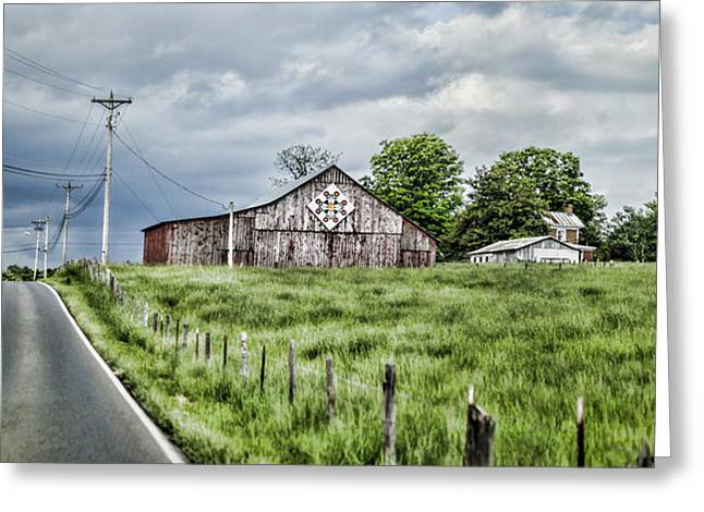 Tobacco Barns Greeting Cards - A Quilted Barn Greeting Card by Heather Applegate