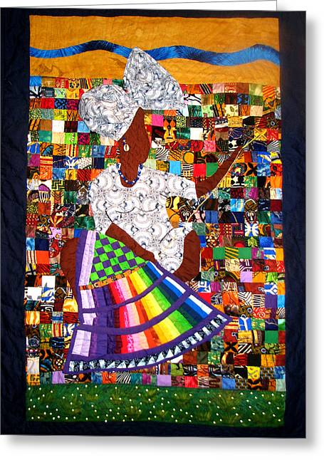 Americans Tapestries - Textiles Greeting Cards - A Quilters Dream Greeting Card by Aisha Lumumba