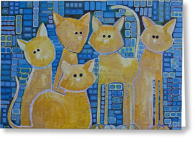 Quorum Greeting Cards - A Quorum Of Cats Greeting Card by Donna Howard