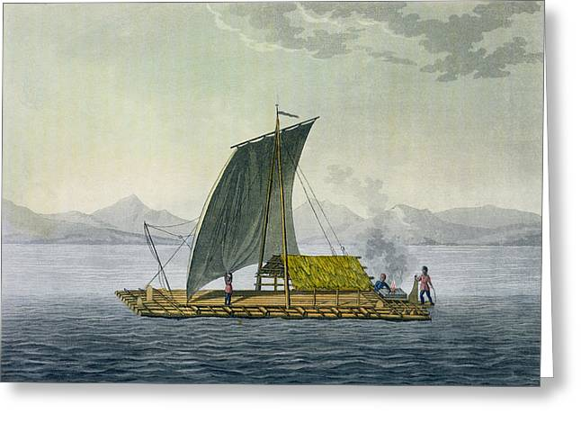 Primitive Greeting Cards - A Raft Leaving The Port Of Guayaquil Greeting Card by Friedrich Alexander, Baron von Humboldt