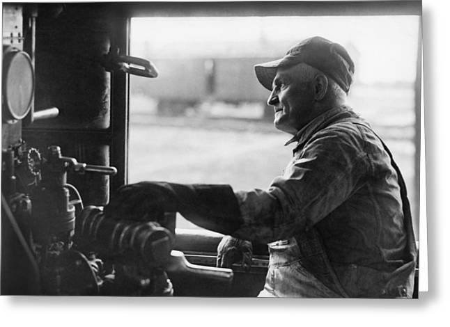 Looking Out Side Greeting Cards - A Railroad Engineer At Work Greeting Card by Underwood Archives