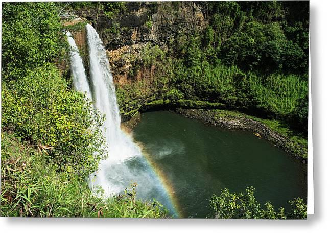 A Rainbow Adorns Wailua Falls  Kauai Greeting Card by Robert L. Potts