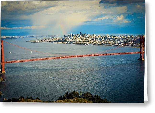 Bay Bridge Greeting Cards - A Rainbow over San Francisco Greeting Card by Maria Perry