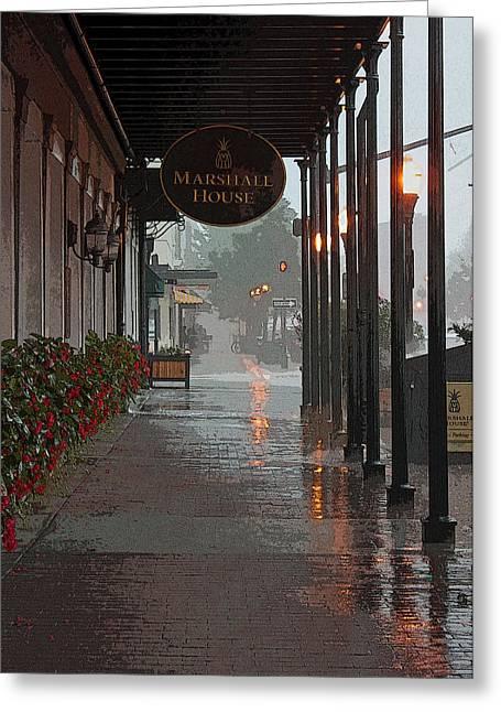 Streetlight Digital Art Greeting Cards - A Rainy Day in Georgia II Greeting Card by Suzanne Gaff