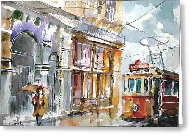 Tram Red Paintings Greeting Cards - A Rainy Day in Istanbul Greeting Card by Faruk Koksal