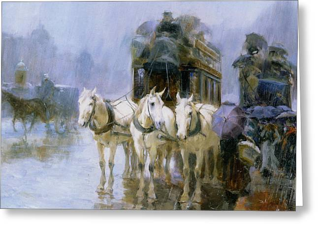 A Rainy Day In Paris Greeting Card by Ulpiano Checa y Sanz
