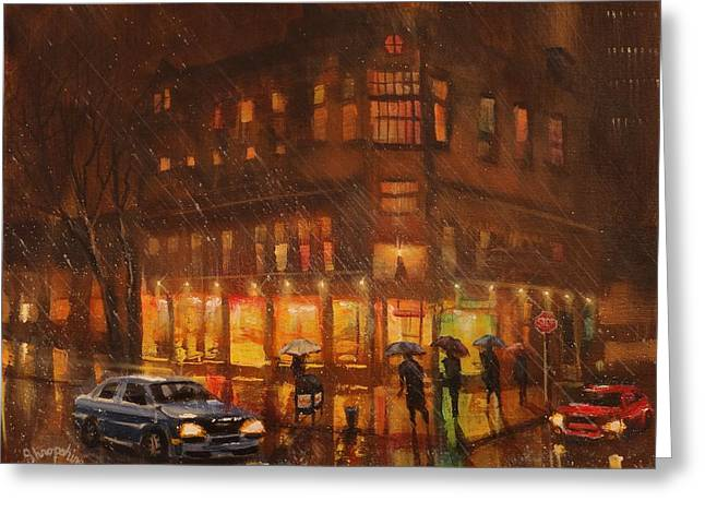 Thunderstorm Paintings Greeting Cards - A Rainy Night in Milwaukee Greeting Card by Tom Shropshire