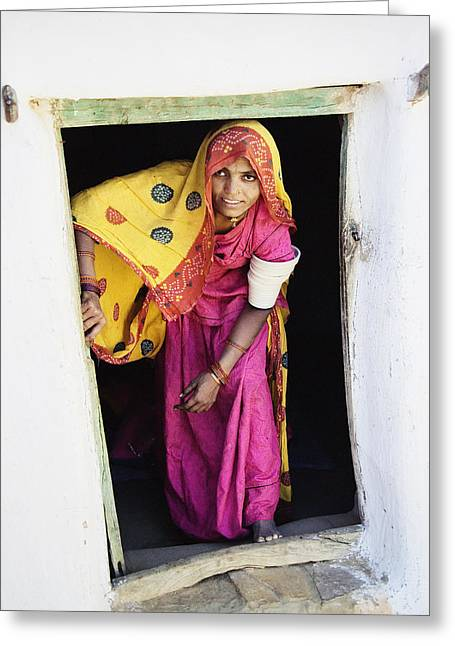 Women Only Greeting Cards - A Rajput Woman Leaving A Building Near Greeting Card by Alan Williams