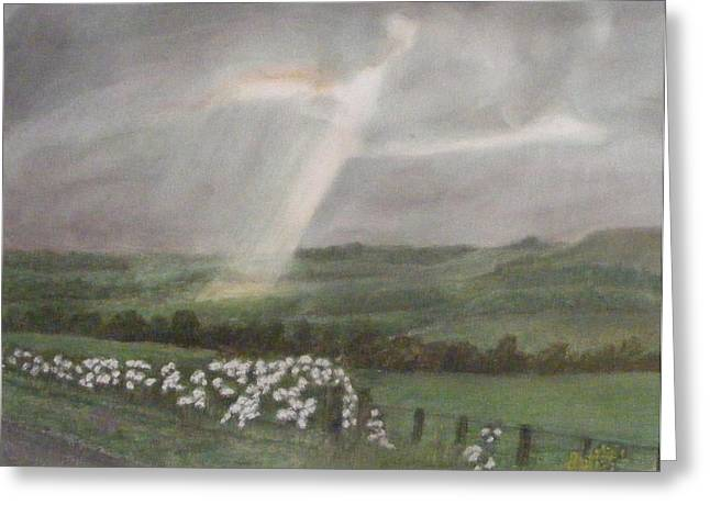 Awesome Pastels Greeting Cards - A Ray Of Light On A Stormy Day Greeting Card by Thomas McCaskie