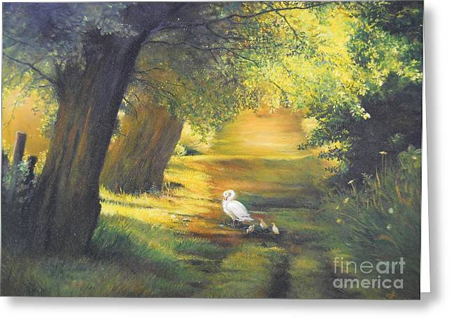 Landscape Framed Prints Greeting Cards - A ray of sunshine  Greeting Card by Sorin Apostolescu