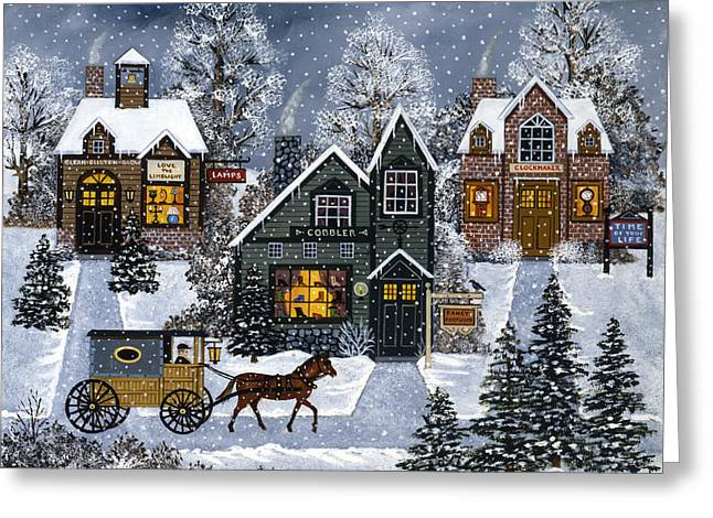 Horse And Buggy Paintings Greeting Cards - A Real Snow Job Greeting Card by Jane Wooster Scott
