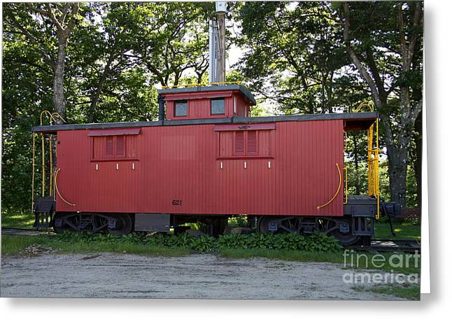 A Red Caboose - Scenic Railroad North Conway Greeting Card by Christiane Schulze Art And Photography
