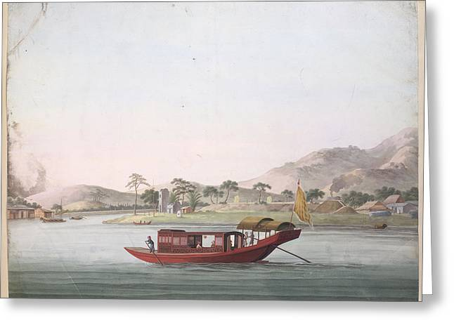 A Red Coloured Boat Greeting Card by British Library