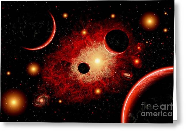 Fantasy World Greeting Cards - A Red Giant Star System Greeting Card by Mark Stevenson