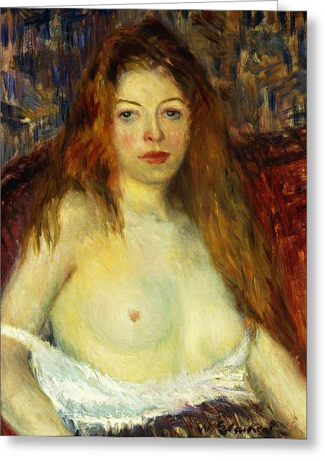 Camera Paintings Greeting Cards - A Red-Haired Model Greeting Card by William James Glackens