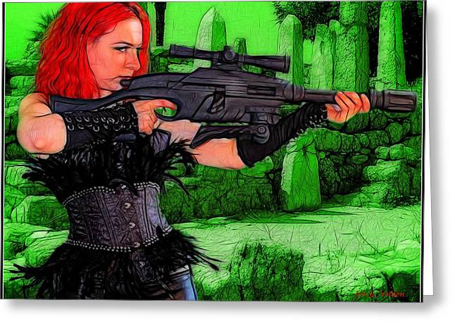 Starship Paintings Greeting Cards - A Red Head With A Big Gun Greeting Card by Jon Volden