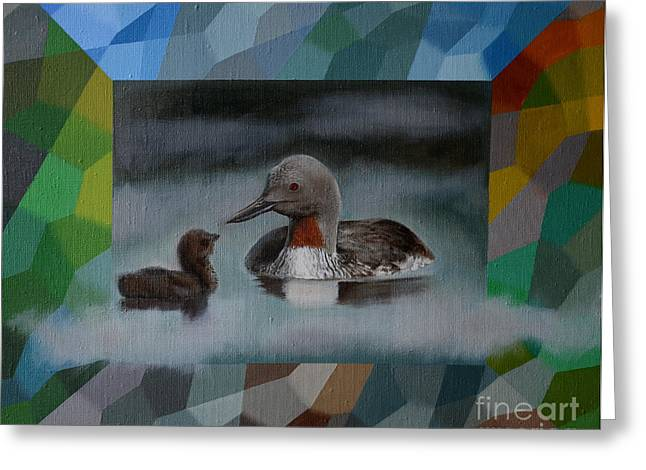 Jukka Nopsanen Greeting Cards - A Red-throated Diver and the Chick Greeting Card by Jukka Nopsanen