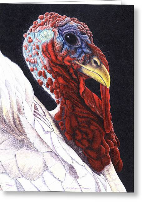 Turkeys Greeting Cards - A Regal Fellow Greeting Card by Katherine Plumer
