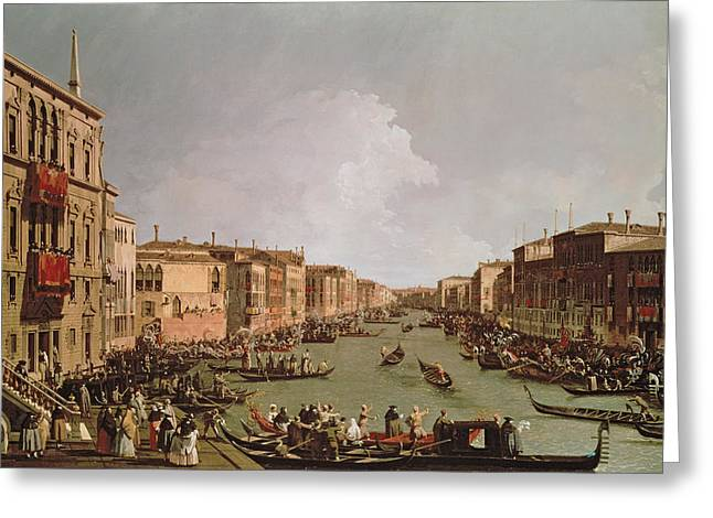 Grey Clouds Greeting Cards - A Regatta on the Grand Canal Greeting Card by Antonio Canaletto