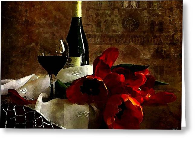 Canvas Wine Prints Drawings Greeting Cards - A Relaxing Afternoon Greeting Card by Cole Black
