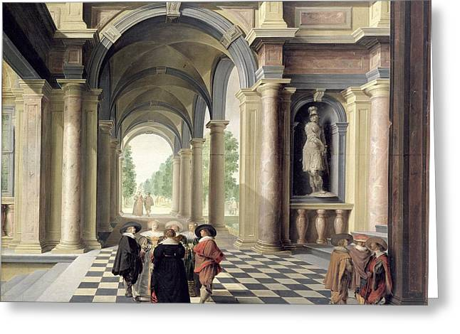 Gossiping Greeting Cards - A Renaissance Hall Oil On Board Greeting Card by Dirck van Delen