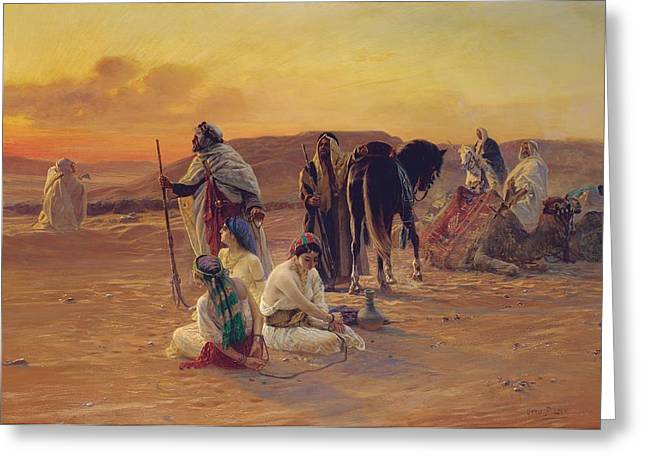 A Rest in the Desert Greeting Card by Otto Pilny